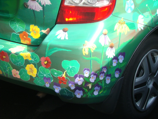 Another art car.  This one seems to have a flower theme.