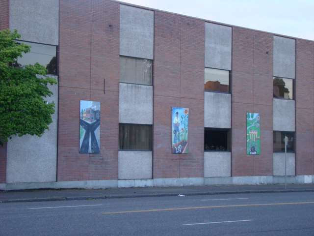 Building with 3 paintings