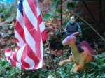 Jean Luc Piccard does his American patriotic duty and rides a dinosaur.  Must be one of those holodeck deals.