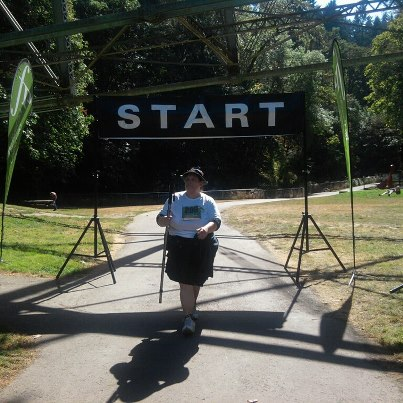 Me crossing the start/finish line.  I finished in five hours and 10 minutes.